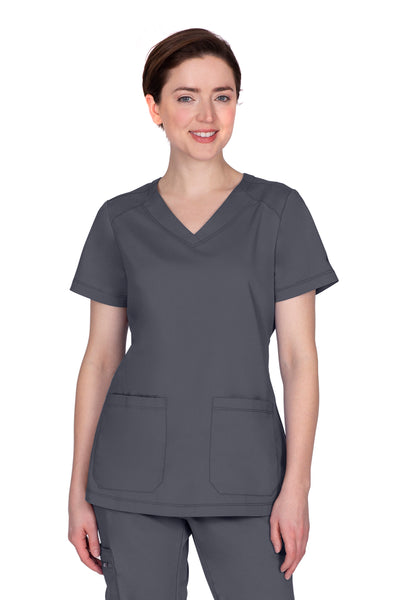 Healing Hands Plus Size Scrub Top Purple Label Jill in Pewter at Parker's Clothing and Shoes.