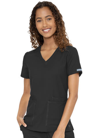 Med Couture Plus Size Scrub Top Insight Classic V-Neck 3 Pocket in Black at Parker's Clothing and Shoes