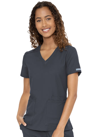 Med Couture Scrub Top Insight Classic V-Neck 3 Pocket in Pewter at Parker's Clothing and Shoes