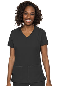 Med Couture Scrub Top Insight Classic V-Neck Side Pocket in Black at Parker's Clothing and Shoes