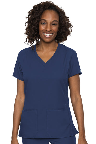 Med Couture Scrub Top Insight Classic V-Neck Side Pocket in Navy at Parker's Clothing and Shoes