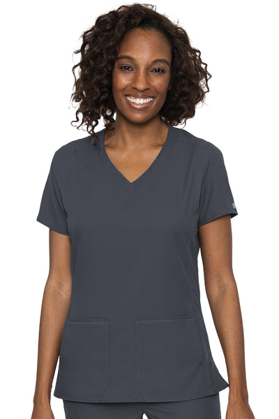 Med Couture Scrub Top Insight Classic V-Neck Side Pocket in Pewter at Parker's Clothing and Shoes