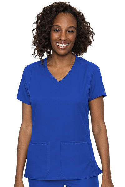 Med Couture Scrub Top Insight Classic V-Neck Side Pocket in Royal at Parker's Clothing and Shoes