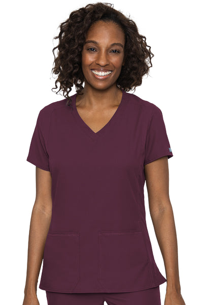 Med Couture Scrub Top Insight Classic V-Neck Side Pocket in Wine at Parker's Clothing and Shoes