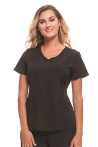 Healing Hands HH Works Monica V-Neck Scrub Top Black - Parker's Clothing and Shoes