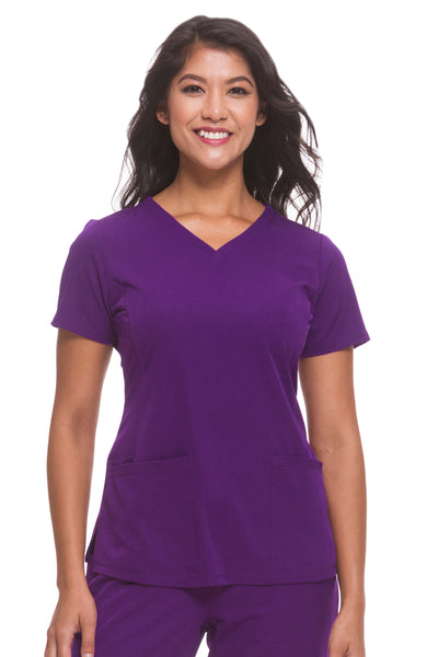 Plus Size Healing Hands HH Works Monica V-Neck Scrub Top Eggplant - Parker's Clothing and Shoes