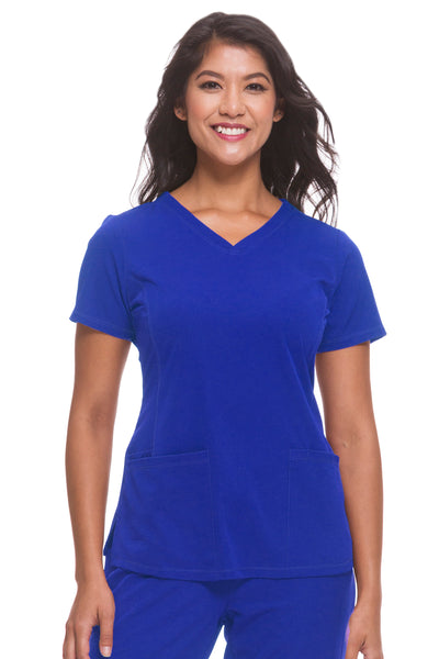 Plus Size Healing Hands HH Works Monica V-Neck Scrub Top Galaxy Blue - Parker's Clothing and Shoes