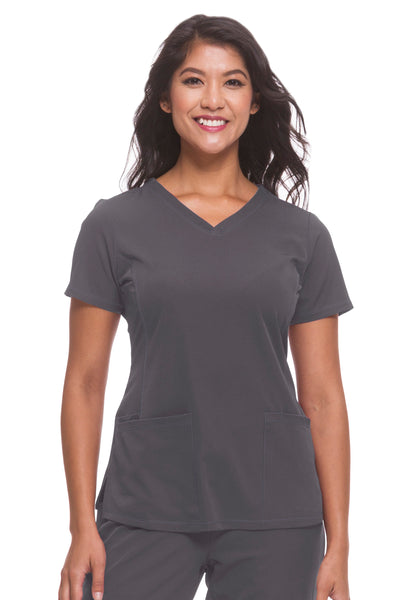 Plus Size Healing Hands HH Works Monica V-Neck Scrub Top Pewter - Parker's Clothing and Shoes