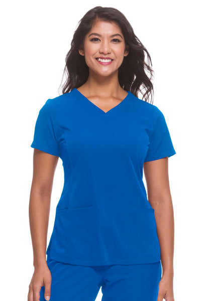 Plus Size Healing Hands HH Works Monica V-Neck Scrub Top Royal - Parker's Clothing and Shoes