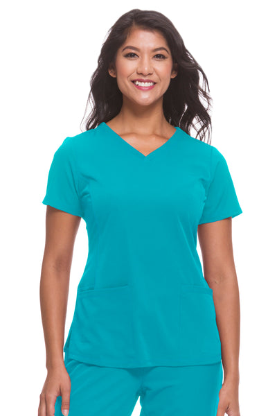 Plus Size Healing Hands HH Works Monica V-Neck Scrub Top Teal - Parker's Clothing and Shoes