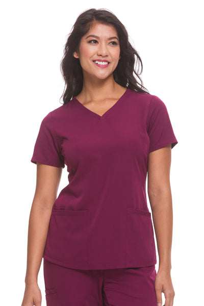 Plus Size Healing Hands HH Works Monica V-Neck Scrub Top Wine - Parker's Clothing and Shoes