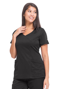 Healing Hands HH Works Madison Mock Wrap Scrub Top Black - Parker's Clothing and Shoes