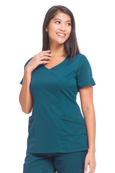 Healing Hands HH Works Madison Mock Wrap Scrub Top Caribbean - Parker's Clothing and Shoes