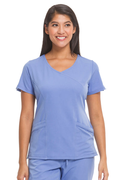 Healing Hands HH Works Madison Mock Wrap Scrub Top Ceil - Parker's Clothing and Shoes