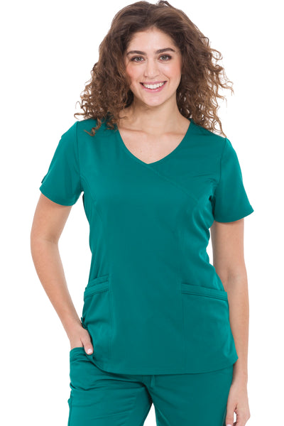Healing Hands HH Works Madison Mock Wrap Scrub Top Hunter - Parker's Clothing and Shoes