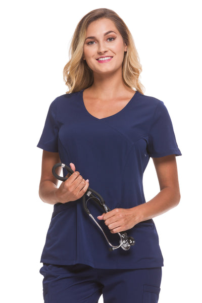 Healing Hands HH Works Madison Mock Wrap Scrub Top Navy - Parker's Clothing and Shoes