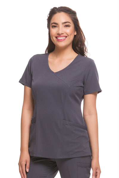 Healing Hands HH Works Madison Mock Wrap Scrub Top Pewter - Parker's Clothing and Shoes