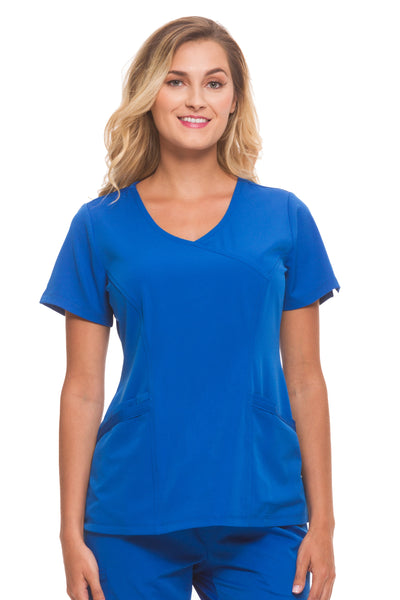 Healing Hands HH Works Madison Mock Wrap Scrub Top Royal - Parker's Clothing and Shoes