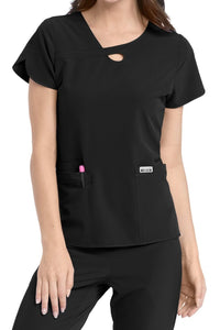 Med Couture Scrub Top 4-Ever Flex Lola Keyhole Black - Parker's Clothing and Shoes