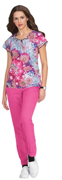 Koi Print Scrub Tops Plus Sizes Flower Burst