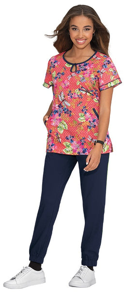 Koi Print Scrub Tops Plus Sizes Dragonfly