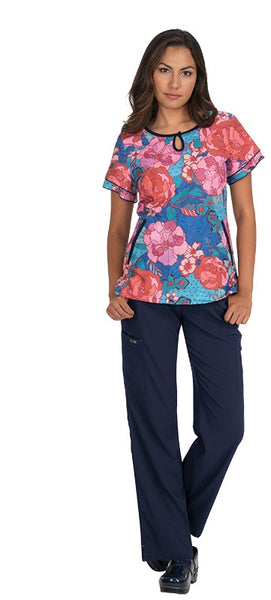 Koi Print Scrub Tops Plus Sizes Line Floral