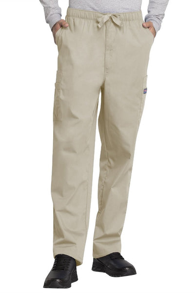 Cherokee Mens Scrub Pants Workwear Originals in Khaki at Parker's Clothing and Shoes