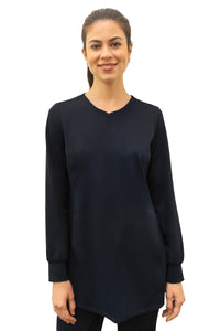 Healing Hands HH Works Fatima Long sleeve Scrub Top Black - Parker's Clothing and Shoes