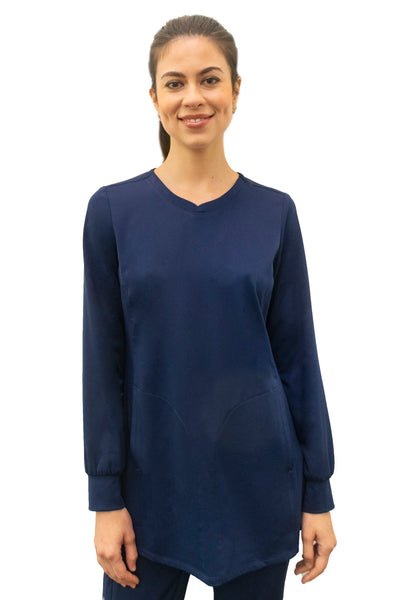 Healing Hands HH Works Fatima Long Sleeve Scrub Top in Navy at Parker's Clothing and Shoes.