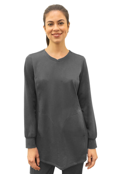 Healing Hands HH Works Fatima Long Sleeve Scrub Top Pewter - Parker's Clothing and Shoes