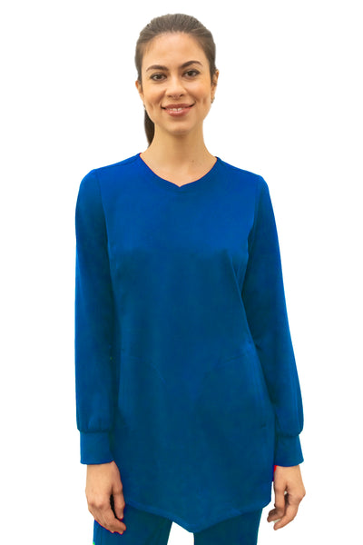 Healing Hands HH Works Fatima Long Sleeve Scrub Top Royal - Parker's Clothing and Shoes