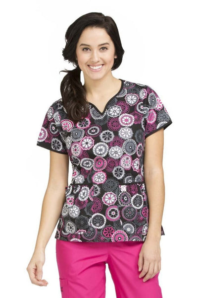 Med Couture Print Scrub Tops Natasha Retro Spin Print Tops - Parker's Clothing & Gifts