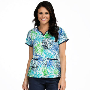 Med Couture Print Scrub Tops Natasha As The Leaves Turn Print Tops - Parker's Clothing & Gifts