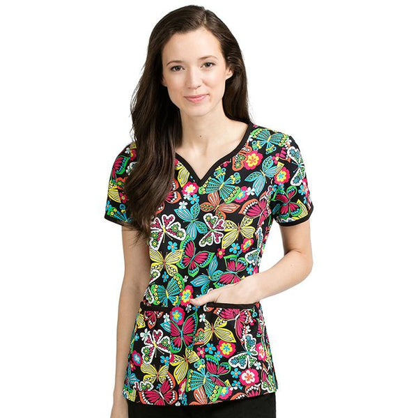 Med Couture Print Scrub Tops Natasha Brightly Buzzed Print Tops - Parker's Clothing & Gifts