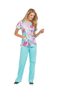 Med Couture Peaches Scrub Top Print Suzie In Full Bloom - Parker's Clothing and Shoes