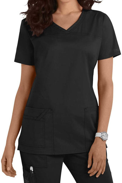 Cherokee Scrub Top Core Stretch V Neck 4727 Black At Parker's Clothing and Shoes