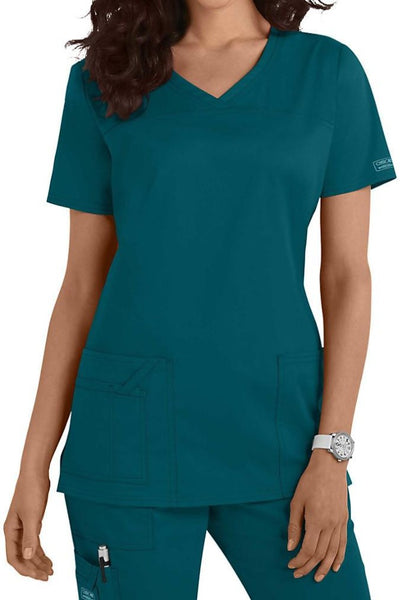 Cherokee Scrub Top Core Stretch V Neck 4727 Caribbean Blue At Parker's Clothing and Shoes