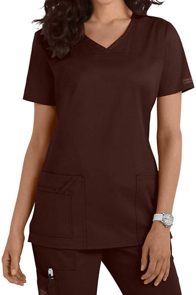 Cherokee Scrub Top Core Stretch V Neck 4727 Chocolate At Parker's Clothing and Shoes