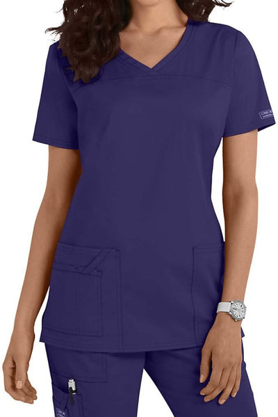 Cherokee Core Stretch Top V Neck 4727 Grape At Parker's Clothing & Shoes