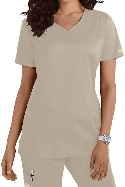 Cherokee Scrub Top Core Stretch V Neck 4727 Khaki At Parker's Clothing and Shoes