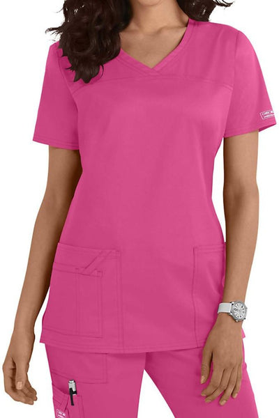 Cherokee Core Stretch Top V Neck 4727 Shocking Pink At Parker's Clothing & Shoes