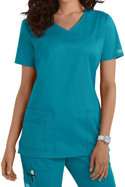 Cherokee Core Stretch Top V Neck 4727 Teal Blue At Parker's Clothing & Shoes