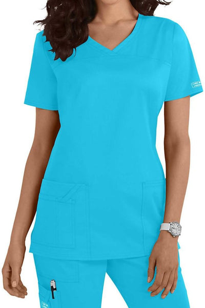 Cherokee Core Stretch Top V Neck 4727 Turquoise At Parker's Clothing & Shoes