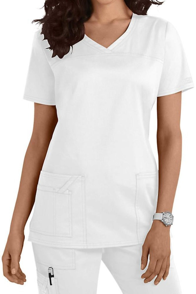Cherokee Scrub Top Core Stretch V Neck 4727 White At Parker's Clothing and Shoes