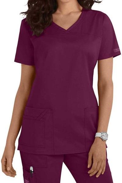 Cherokee Scrub Top Core Stretch V Neck 4727 Wine At Parker's Clothing and Shoes