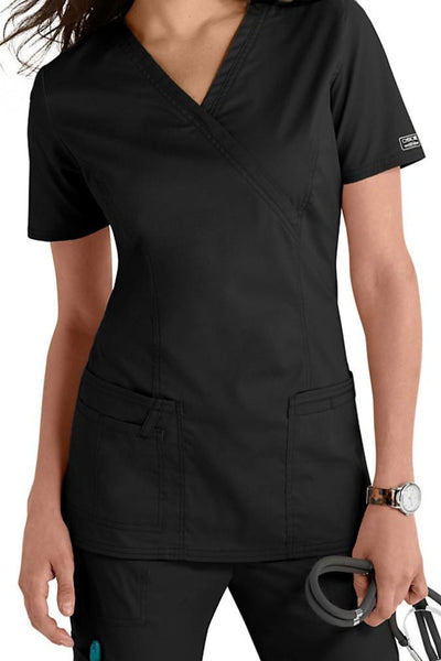 Cherokee Scrub Top Core Stretch Mock Wrap 4728 Black At Parker's Clothing & Shoes
