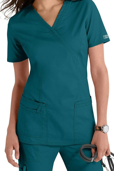 Cherokee Scrub Top Core Stretch Mock Wrap 4728 Caribbean Blue At Parker's Clothing & Shoes