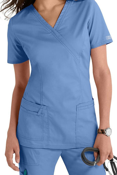 Cherokee Scrub Top Core Stretch Mock Wrap 4728 Ciel At Parker's Clothing & Shoes