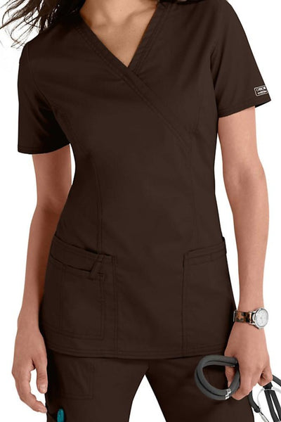 Cherokee Scrub Top Core Stretch Mock Wrap 4728 Chocolate At Parker's Clothing & Shoes