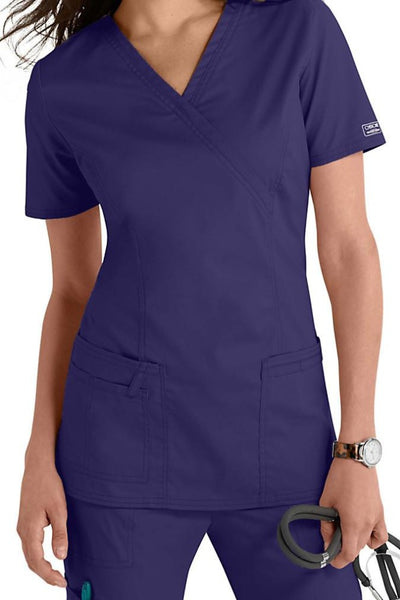 Cherokee Scrub Top Core Stretch Mock Wrap 4728 Grape At Parker's Clothing & Shoes